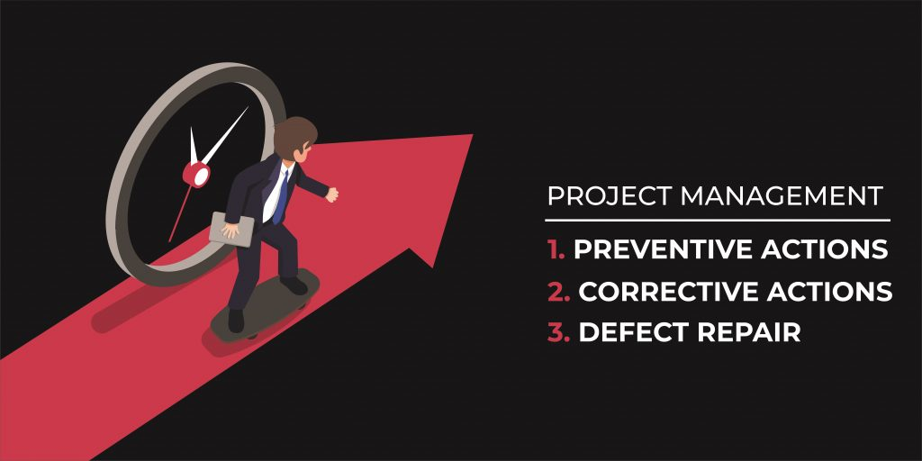 Preventive actions, Corrective actions and Defect repair.